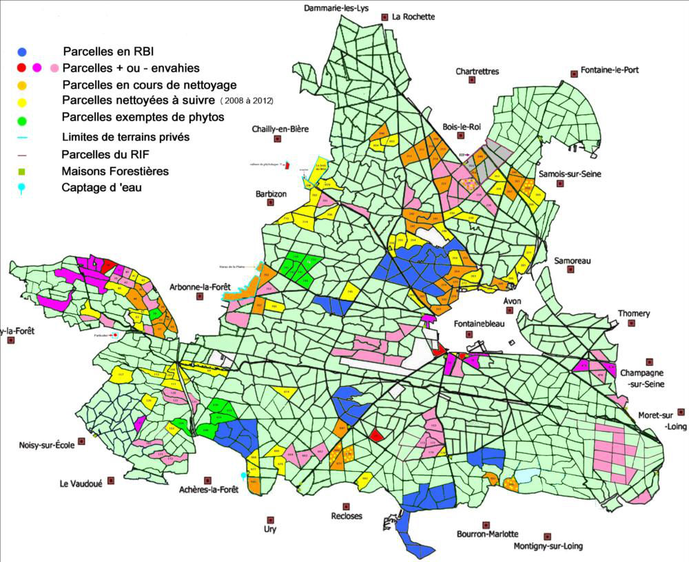 Carte de l`invasion des phytolaques au 15/11/2012