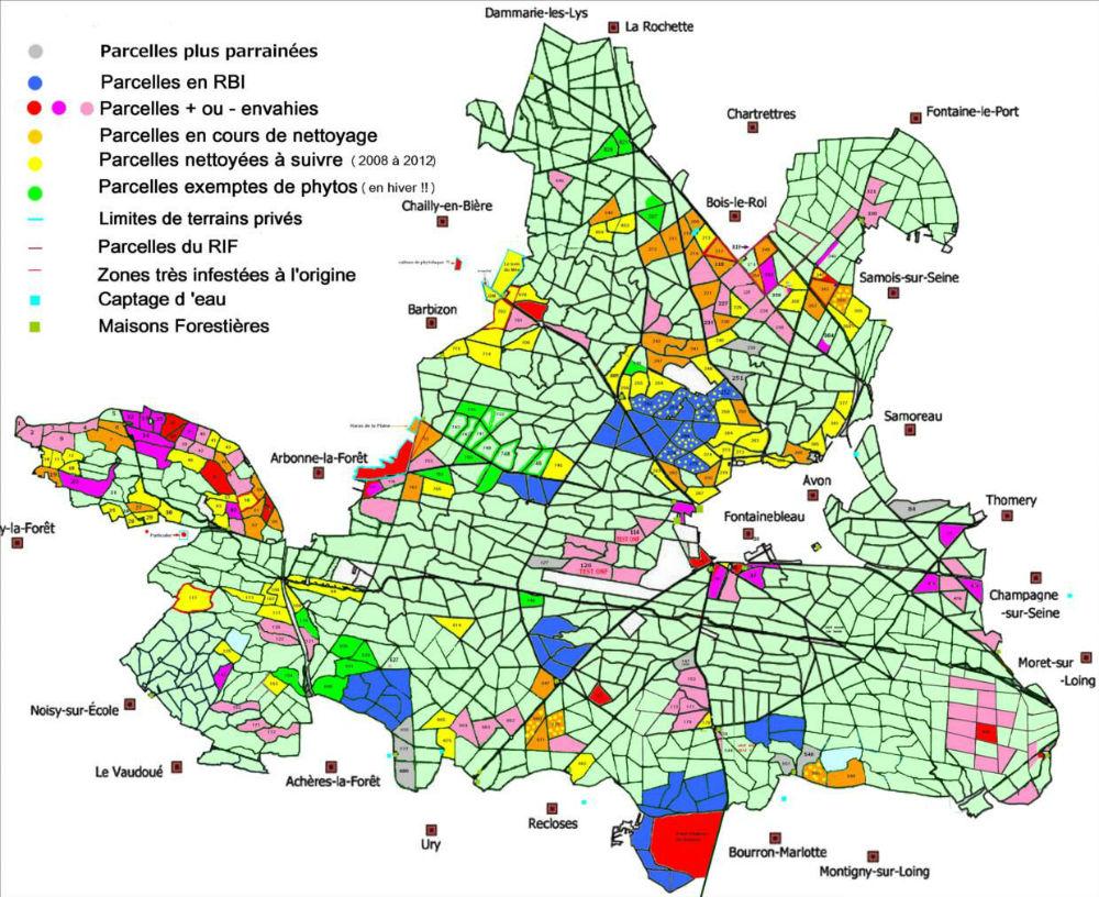 Carte de la contamination en phytolaques de la forêt de Fontainebleau