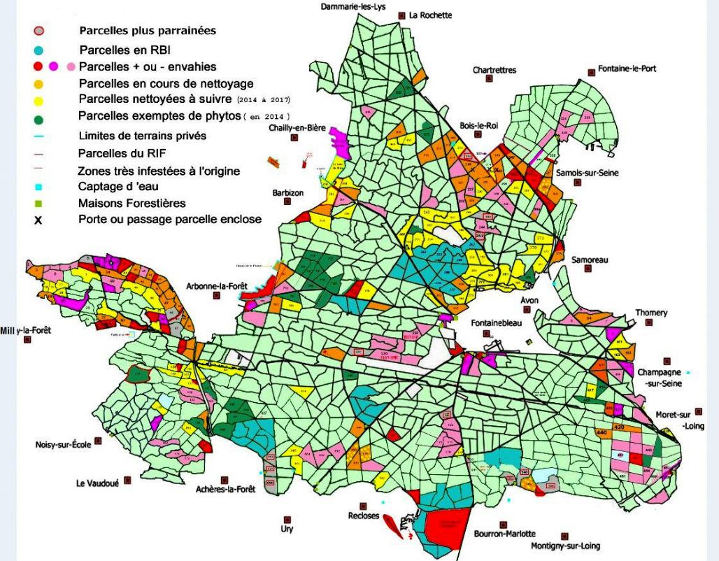 Carte de l`invasion des phytolaques à Fontainebleau