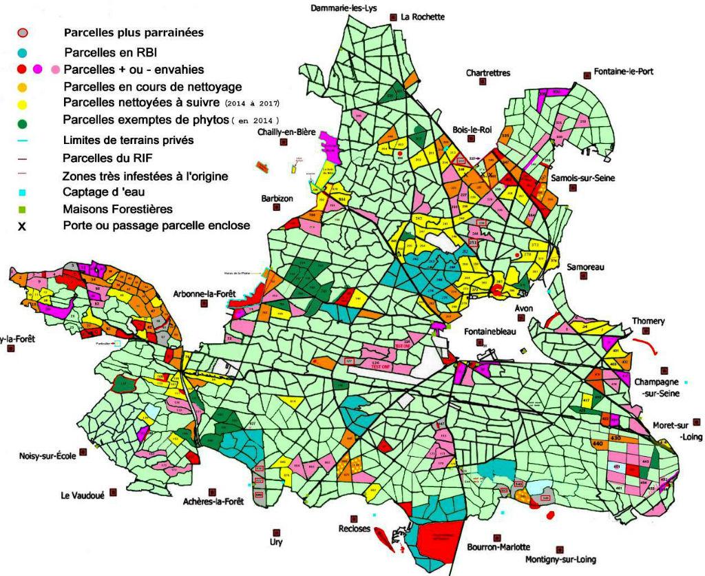 Carte d`invasion des Phytolaques en forêt de Fontainebleau